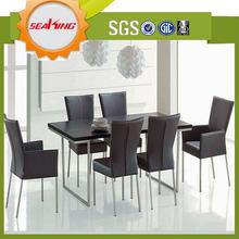 Popular moderna mesa de comedor de acero inoxidable base de la mesa