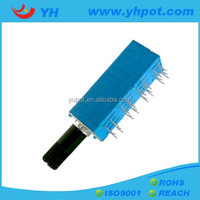 jiangsu 9mm eight units stereo volume control rotary horizental 200k ohm lever potentiometer