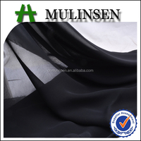 Mulinsen Textile Woven Plain Dyed Polyester Twist Chiffon Transparent Fabric Black
