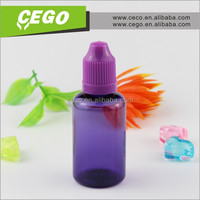 purple color new products 15ml 30ml PET plastic dropper bottle with child proof cap for ego oil, e-liquid, e-cigarette oil