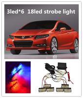 New 3Led*6 Strobe Flash Car led Light, 18Leds car warning light strobe light