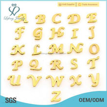 Modren gold A-Z Initial Letter Alphabet floating charms, custom jewelry wholesale charms