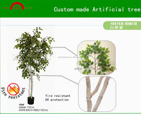Custom made silver birch tree/Manufacture high quality Autum color artificial white birch tree decoration