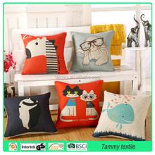 Hot Sale Pillow Covers Lovely Cartoon Dog Driving Car 45X45CM Linen Pillow Cover \ Decorative Linen Cushion