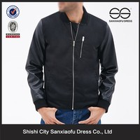 Wholesale Fashion Clothes Manufacturers China, Leather Sleeves Denim Jacket For Men