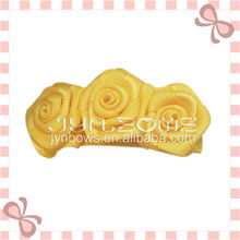 2013 Handmade Yellow Grosgrain Ribbon Girls Hair Clips