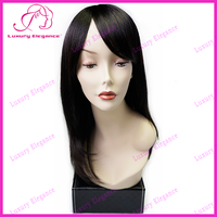 Easily Fix, Natural Style, Affordable Price, Yaki Straight Long Human Hair Wigs With Bangs