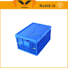 80L Large capacity storage hinged plastic nesting crates for moving