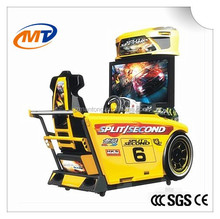 Simulator arcade racing car two player game machine with LED lights