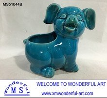 Garden Accessory Blue Pig Animals Flower Box Planter