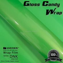 Derek New Style Glossy Pearl Apple Green Candy Vinyl Wrap Film with Air Channel and Imported Glue
