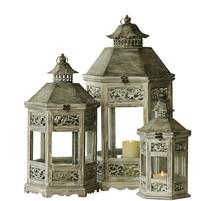Decorative Wood lantern European style antique finish set of 3 indoor/outdoor