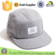 Customised Design Patch Printing Logo 5 Panel Caps,High Quality Plain100% Wool Sports Caps/Hats Wholesaler