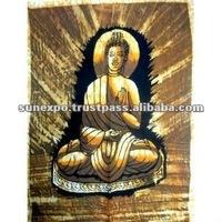 "Lord Buddha Indian God Cotton Fabric Tapestry Batik Painting Wall Hanging 22"" X 16"""