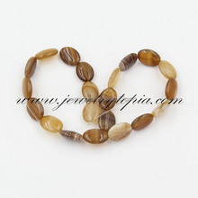 Wholesale Coffee Banded Agate Beads Oval 10x14mm