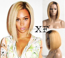 best selling short brown human hair full lace wig short straight bob style wig