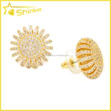 fashion colored flower brass studs earrings jewelry
