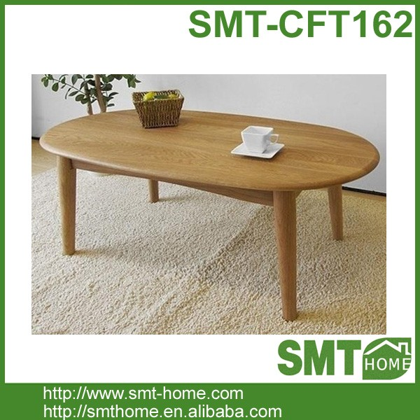 Rustic Wood Oval Coffee Table: Rustic Oval Solid Oak Wood Center Coffee Table For Living