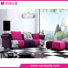 Lifestyle living room modern fabric furniture purple sectional sofa