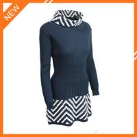 2015 long sleeve white striped 100% wool turtleneck sweater dress