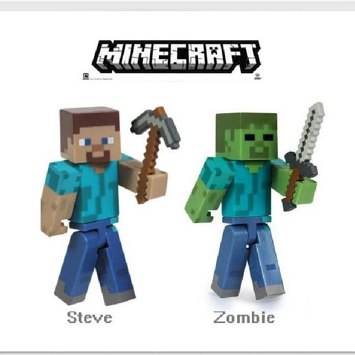 Пикачу minecraft Стив & зомби действий игрока мультфильмов игры игрушки, меч и piackaxe низкая цена