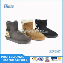 new women boots 2015 Hot sale one button sheepskin boots manufacturer leather women shoes hairy warm women witer snow boot