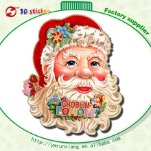 Merry christmas new year glass door stickers 3d glitter flocking stickers