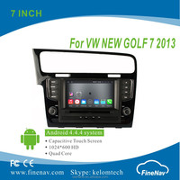 "FineNav Quad Core 7"" Android 4.4.4 HD Touch Screen Car DVD player for VW New Golf 7 2013 with GPS BT MP3 Wifi 3G"