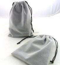 gray custom drawstring pouch gift/jewelry velvet bag