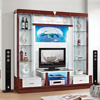 Modern glass and wood mixed tv stands design led tv unit
