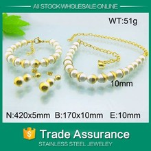 2015 dubai gold jewelry pearl set 925 sterling silver freshwater pearl & round jewelry set wholesale