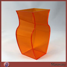 Orange Large Top Grade Sqaure Lucite Countertop Florist Decorative Rose Vase