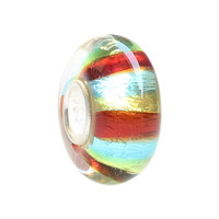 Wholesale Colorful Rainbow Silver Foil Murano Glass Bead with 925 Sterling Silver Tube For European Bracelets