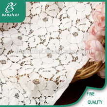 newest hot selling garment materials french lace fabric/cotton lace fabric /guipure lace wedding dress