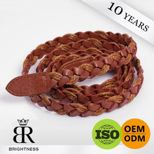 Most populor brown leather solid woven cotton arrow belt H1-80012