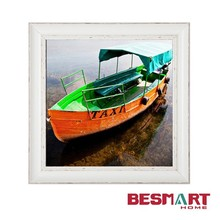 water taxi boat canvas print with white rustic frame wall art hanging picture