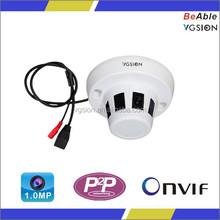 Indoor 720p 1megapixel smoke sensor detector shape ceiling fan ip camera