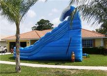inflatable hiopo slide/giant stimulate blue long slide/trampoline wet slide for commercial