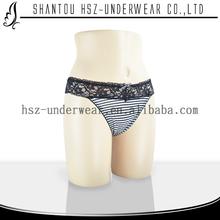U2140 2015 New products beautiful lace sexy women underwear stripe fabric sexy women thong hot sexy modal lady panty