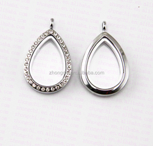 wholesale metal memory water drop lockets enamel color living magnet crystal tear drop floating lockets charms jewellry