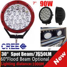 Pulgadas 7 90w luces led para camiones, super brillante led 90w auxiliar de las luces de conducción