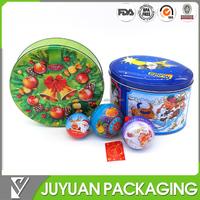 Ball shaped decorative tin metal tin box with cord for Christmas Pormotion gift tin