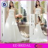 MS14 Latest Design White Strapless Lace Appliqued Sleeveless Wedding Dress 2016