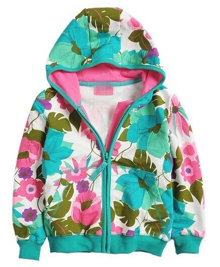 Скидки на Супер французский дизайнер дети закрытый воротник пальто, Девочки марка осень и зима цветочный куртки, Дети свободного покроя принт верхняя одежда