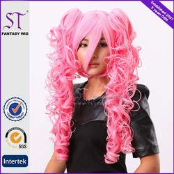 factory supply cheap curly long japanese hot pink cosplay wig