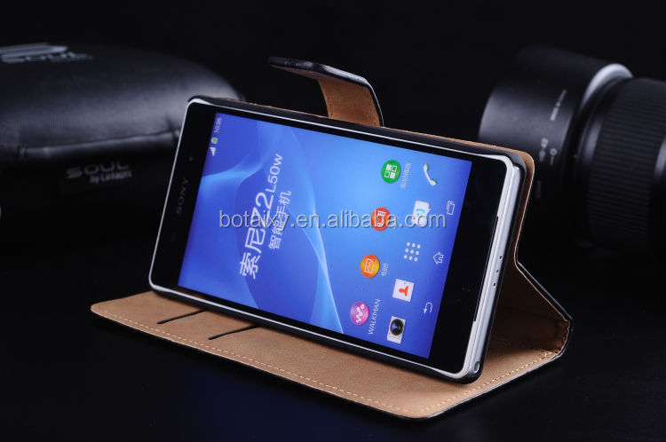 Luxury Genuine Real Wallet Leather Case for SONY XPERIA Z2