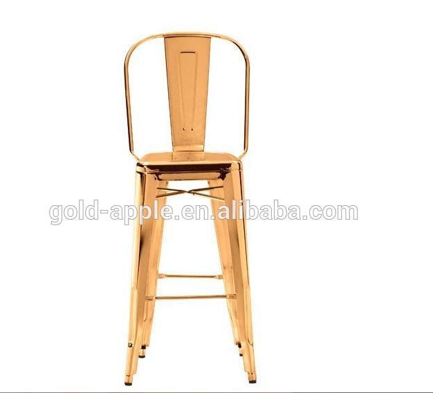 high golden metal industrial bar chair for indoor and