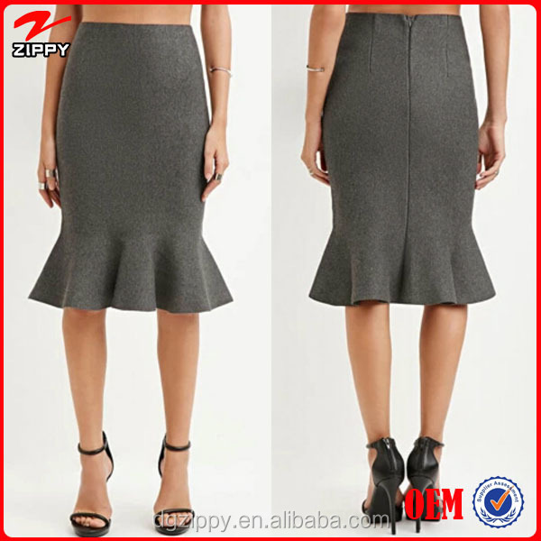 2015 high fashion skirt designs fluted pencil skirt for