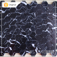 Factory Price Nero Margiua 3D Black Hexagon Marble Mosaic Tile For Kitchen