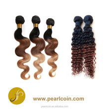 Specialized Ombre Twotone Colored 100% Chinese Natural Virgin Human Bundle Hair Weaving Extensions